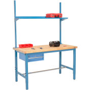 "96""W x 30""D Production Workbench - Birch Butcher Block Square Edge w/ Drawer, Upright & Shelf - Blue"