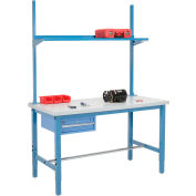 "96""W x 30""D Production Workbench with Drawer, Upright & Shelf, Plastic Laminate Square Edge- Blue"