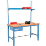 "96""W x 36""D Production Workbench w/ Drawer, Upright & Shelf, Maple Butcher Block Square Edge-Blue"