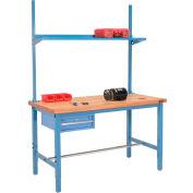 "96""W x 36""D Production Workbench - Maple Butcher Block Square Edge w/ Drawer, Upright & Shelf - Blue"