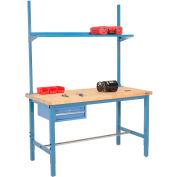 "96""W x 36""D Production Workbench w/ Drawer, Upright & Shelf, Birch Butcher Block Square Edge-Blue"