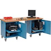Global Industrial™ 72 x 30 Mobile Pedestal Computer Workbench - Shop Top Square Edge - Blue