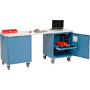 Global Industrial™ 72 x 24 Plastic Square Edge Mobile Pedestal Workbench Blue