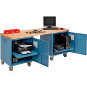 Global Industrial™ 72 x 24 Maple Square Edge Mobile Pedestal Workbench Blue