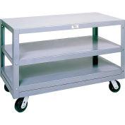 Modern Equipment MECO 6MS305-3 Mobile Steel Table 3 Shelf 30x60 Polyolefin 3000 Lb.