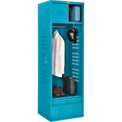 "Global™ Gear Locker with Shelf Security Box and Footlocker 24""W x 21""D x 76""H Blue Assembled"