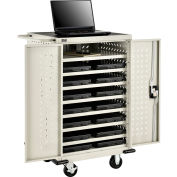 Mobile Storage & Charging Cart for 12 Laptop & Chromebook™ and Tablets, Putty, Assembled