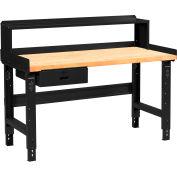 Global Industrial™ 72 x 30 Adj Height Workbench w/Drawer&Riser, Black-Birch Square Edge Top