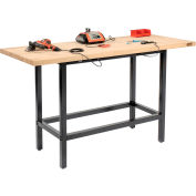 """Global Industrial™ Standing Height Workbench w/ Birch Square Edge Top, 72""""W x 30""""D, Black"""