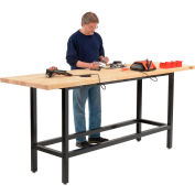"""Global Industrial™ Standing Height Workbench w/ Birch Square Edge Top, 96""""W x 30""""D, Black"""
