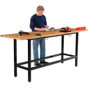 """Global Industrial™ Standing Height Workbench w/ Shop Top Square Edge, 96""""W x 30""""D, Black"""