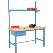 Global Industrial™ 60x30 Production Workbench Birch Square Edge - Drawer, Upright & Shelf BL