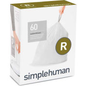 simplehuman® Trash Can Liner Code R - 2.6 Gallon,  16.6 X 17.9, 0.98 Mil, White, Pack of 240