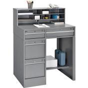 "Global Industrial™ Premium Pedestal Shop Desk With 4 Drawers & Shelf, Gray, 38""W x 29""D x 51""H"
