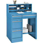 "Premium Pedestal Shop Desk - 4 Drawers & Shelf 38""W x 29""D x 51""H - Blue"