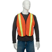 "Global Industrial Hi-Vis Safety Vest, 2"" Lime/Reflective Strips, Polyester Mesh, Orange, One Size"