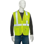 "Global Industrial Class 2 Hi-Vis Safety Vest, 2"" Silver Strips, Polyester Mesh, Lime, Size XL"