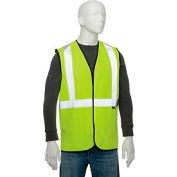 "Global Industrial Class 2 Hi-Vis Safety Vest, 2"" Silver Strips, Polyester Solid, Lime, Size S/M"