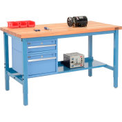 Global Industrial™ 72 x 36 Production Workbench - Maple Safety Edge - Drawers & Shelf - Blue