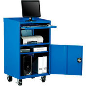 Mobile Computer Cabinet, Blue - Assembled