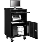 """Global Industrial™ Mobile Computer Cabinet, 27""""W x 24""""D x 49-1/2""""H, Black, Assembled"""