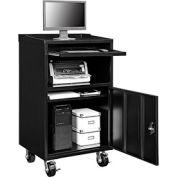 "Mobile Computer Cabinet, 27""W x 24""D x 49-1/4""H, Black, Assembled"