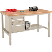 Global Industrial™ 72 x 36 Production Workbench - Shop Top Safety Edge - Drawers & Shelf - Tan