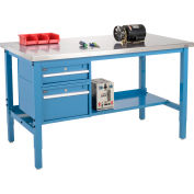 Global Industrial™ 72x30 Production Workbench, Stainless Steel Square Edge, Drawers & Shelf BL