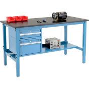 Global Industrial™ 72 x 36 Production Workbench - Phenolic Safety Edge - Drawers & Shelf Blue