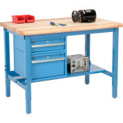Global Industrial™ 48 x 36 Production Workbench - Maple Safety Edge - Drawers & Shelf - Blue