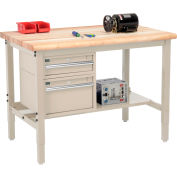 "Global Industrial™ 48""W x 36""D Production Workbench - Maple Safety Edge - Drawers & Shelf - Tan"