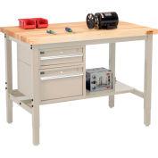 "Global Industrial™ 48""W x 36""D Production Workbench - Birch Square Edge - Drawers & Shelf - Tan"