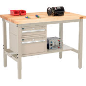 "Global Industrial™ 48""W x 36""D Production Workbench - Birch Square Edge - Drawers & Shelf - Tan"