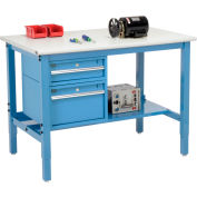 "Global Industrial™ 48""W x 36""D Production Workbench - ESD Safety Edge - Drawers & Shelf - Blue"