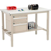 "Global Industrial™ 48""W x 36""D Production Workbench - ESD Safety Edge - Drawers & Shelf - Tan"