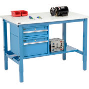 """Global Industrial™ 48""""W x 36""""D Production Workbench - ESD Square Edge - Drawers & Shelf - Blue"""