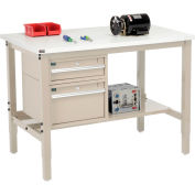 "Global Industrial™ 48""W x 36""D Production Workbench - ESD Square Edge - Drawers & Shelf - Tan"