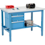 Global Industrial™ 48 x 36 Production Workbench - Laminate Square Edge - Drawers & Shelf - Blue