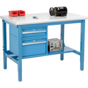 Global Industrial™ 48 x 30 Production Workbench - Laminate Safety Edge - Drawers & Shelf - Blue