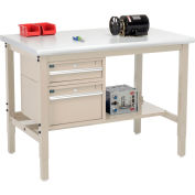 Global Industrial™ 48 x 36 Production Workbench - Laminate Safety Edge - Drawers & Shelf - Tan