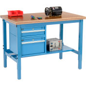 Global Industrial™ 48 x 30 Production Workbench - Shop Top Safety Edge - Drawers & Shelf - Blue