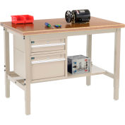 Global Industrial™ 48 x 30 Production Workbench - Shop Top Safety Edge - Drawers & Shelf - Tan