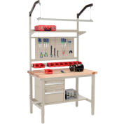 """Global Industrial™ 48""""W x 30""""D Production Workbench - Maple Square Edge Complete Bench - Tan"""