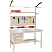 Global Industrial™ 72x30 Production Workbench - Stainless Steel Square Edge Complete Bench Tan