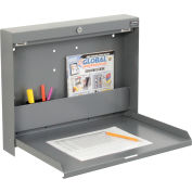 "Global Industrial™ Folding Wall Mount Shop Desk with Lock 20""W x 3-3/8""D x 16-3/8""H - Gray"