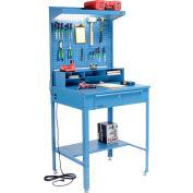 """Global Industrial™ Flat Surfaced Shop Desk w/ Pegboard & Top Shelf, 34-1/2""""W x 30""""D, Blue"""