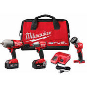Milwaukee® 2796-23 M18 High Torque Impact Wrench, Combo Impact Wrench w/LED Light 3 Tool Kit