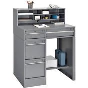 "38""W x 29""D x 51""H 4-Drawer Premium Shop Desk - Gray"