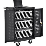 Mobile Storage & Charging Cart for 36 iPad® Tablet Devices (Black) - Assembled