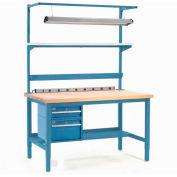 "96""W x 36""D Production Workbench w/Light Kit and Power Shelf, Birch Butcher Block Square Edge-Blue"